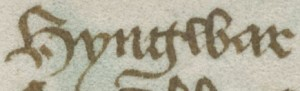 His name written in 15th century text