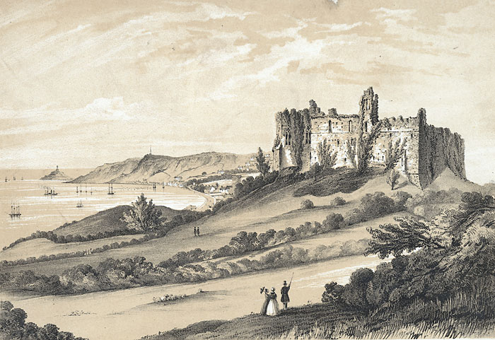 Oystermouth_castle,_with_its_village_and_lighthouse,_Swansea_bay