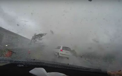 Watch This Car Drive Through A Tornado
