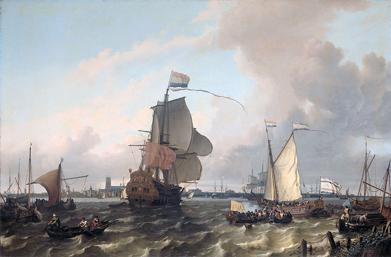 800px-Het_oorlogsschip_'Brielle'_op_de_Maas_voor_Rotterdam_-_The_warship_'Brielle'_on_the_Maas_before_Rotterdam_(Ludolf_Backhuysen,_1689)