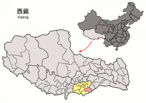 Location_of_Lhünzê_within_Xizang_(China)