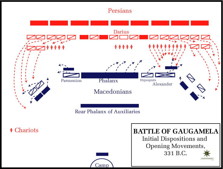 Battle_of_Gaugamela,_331_BC_-_Opening_movements heroic cavalry charges