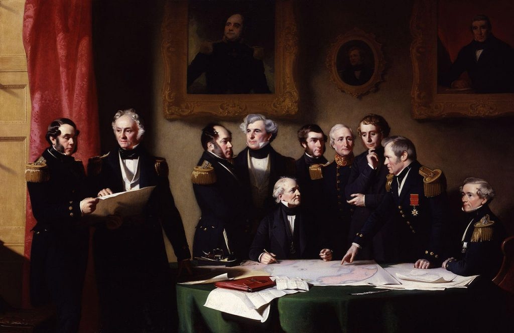 lost expedition The_Arctic_Council_planning_a_search_for_Sir_John_Franklin_by_Stephen_Pearce
