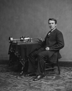 714px-Thomas Edison_and_phonograph_edit1