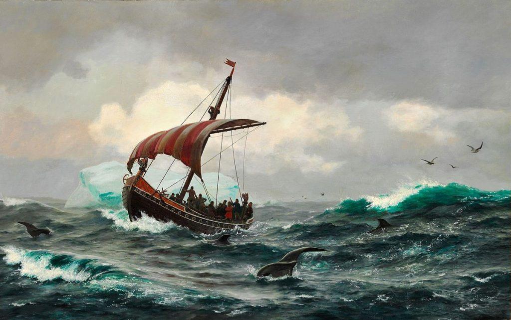 viking warriors I._E._C._Rasmussen_-_Sommernat_under_den_Grønlandske_Kyst_circa_Aar_1000