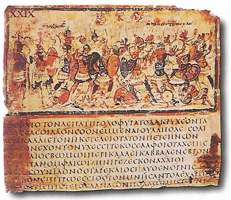 ancient texts Iliad_VIII_245-253_in_cod_F205,_Milan,_Biblioteca_Ambrosiana,_late_5c_or_early_6c
