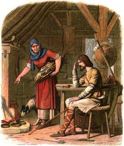 english kings A_Chronicle_of_England_-_Page_050_-_Alfred_in_the_Neatherd's_Cottage