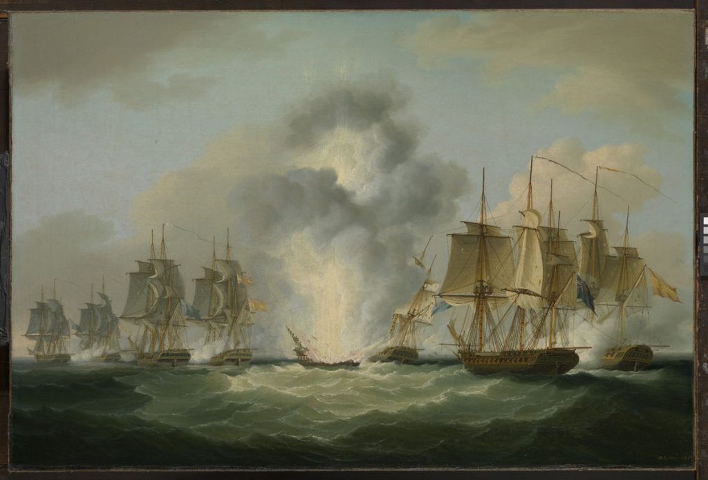 famous shipwrecks Four_frigates_capturing_Spanish_treasure_ships_(5_October_1804)_by_Francis_Sartorius,_National_Maritime_Museum,UK