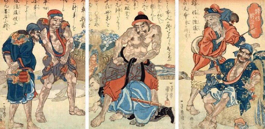 Kuniyoshi_Utagawa,_Suikoden_Triptych_The_Fishermen