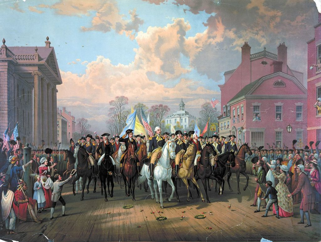 the american revolutionary war Evacuation_Day_and_Washington's_Triumphal_Entry