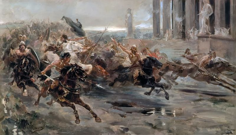 Invasion of the Barbarians or The Huns approaching Rome - Color Painting Attila the Hun