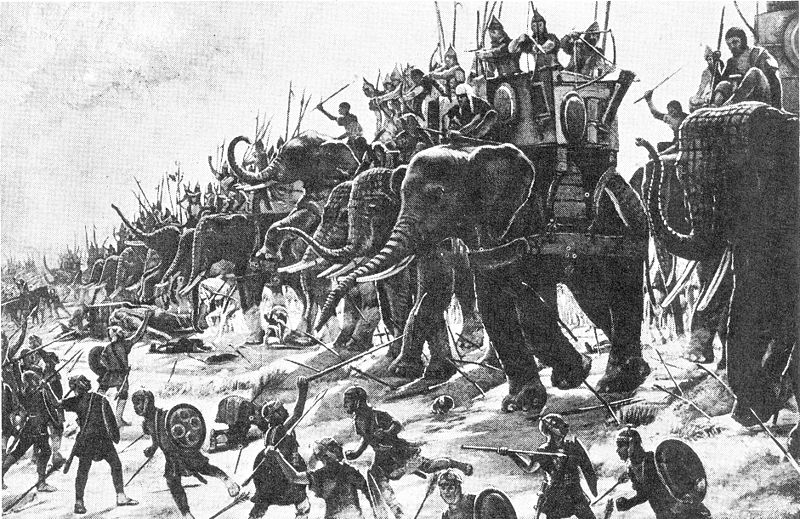 Carthaginian leaders riding elephants charge into Roman foot soldiers