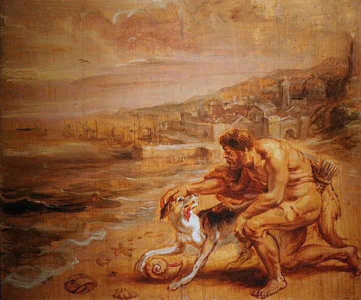 Hamilco petting a dog outside Carthage